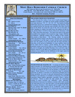 January 3, 2016 Bulletin - Most Holy Redeemer Catholic Church