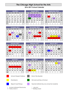 The calendar for the 2016-17 school year has been finalized. Click