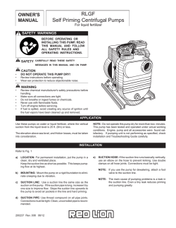 RLGF Self Priming Centrifugal Pumps