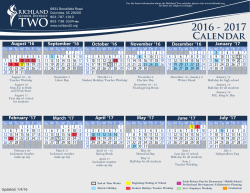 2016 - 2017 Calendar - Richland School District Two