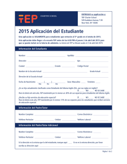 2015 Aplicación del Estudiante - The Equity Project Charter School