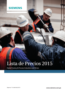 Vigencia: 1° de Abril del 2015 - The Future of Manufacturing