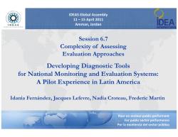 Developing Diagnostic Tools for National Monitoring and Evaluation