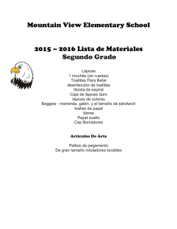 Mountain View Elementary School 2015 – 2016 Lista de Materiales