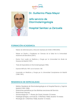 Dr. Guillermo Plaza Mayor Jefe servicio de