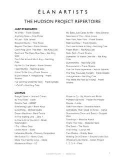 THE HUDSON PROJECT REPERTOIRE