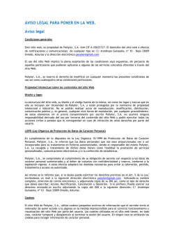 AVISO LEGAL PARA PONER EN LA WEB. Aviso legal
