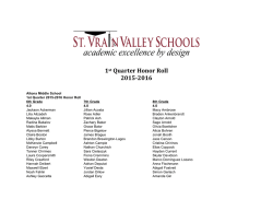 1st Quarter Honor Roll 2015