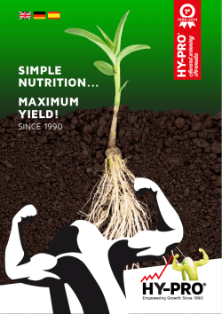 SIMPLE NUTRITION... MAXIMUM YIELD! - Hy-pro