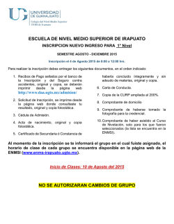 FECHA DE INSCRIPCION PARA: - Escuela de Nivel Medio Superior