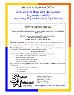 Zone School Wait List Application Expiration Notice