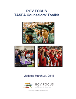RGV FOCUS TASFA Counselors` Toolkit