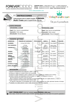 Instrucciones PDF papel transfer láser Forever Multitrans superficies