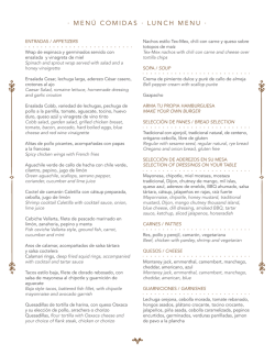 · MENÚ COMIDAS · LUNCH MENU ·