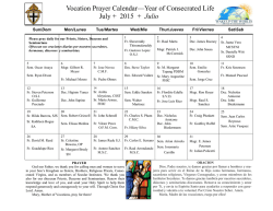 Vocation Prayer Calendar—Year of Consecrated Life July + 2015 +