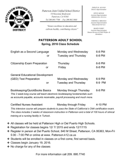 PATTERSON ADULT SCHOOL Spring, 2016 Class Schedule
