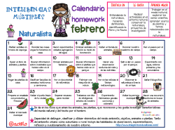 Calendario Inteligencias Múltiples Naturalista febrero