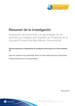 Resumen de la investigación - International Baccalaureate