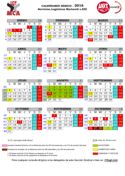 calendario 2016 - Sección Sindical de UGT
