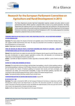 Research for the European Parliament Committee on Agriculture