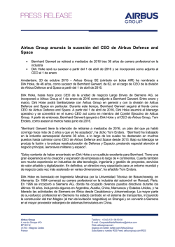 Airbus Group anuncia la sucesión del CEO de Airbus Defence and