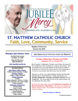 2016.01.10 Parish Bulletin - St. Matthew Catholic Church