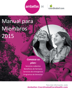Manual para Miembros 2015 - Ambetter from Coordinated Care