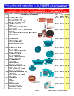 Mid-SEPTEMBER SamplesWithPics - Ultimate Sales Tupperware