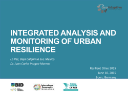 integrated analysis and monitoring of urban resilience