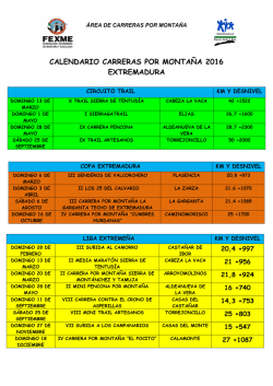 CALENDARIO CARRERAS FEXME 2016
