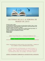 Lecturas de la Primera Semana de Marzo 2015