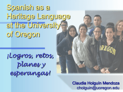 Spanish as a Heritage Language at the University of Oregon