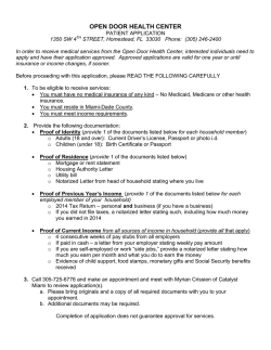 OPEN DOOR HEALTH CENTER PATIENT INFORMATION SHEET