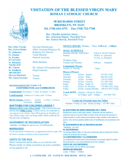 Bulletin for week of 04-12-15 - Visitation of the Blessed Virgin Mary