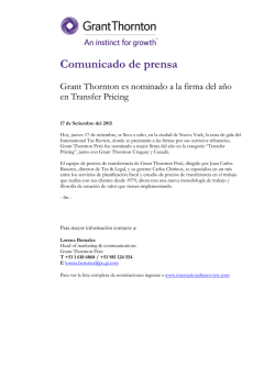Grant Thornton es nominado a la firma del año en Transfer Pricing