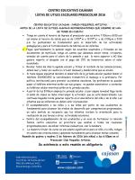 centro educativo cajasan listas de utiles escolares preescolar 2016