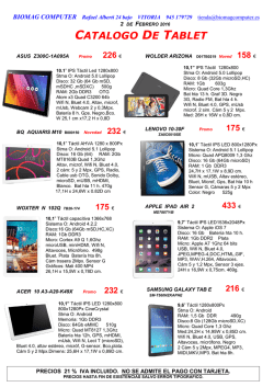 CATALOGO DE TABLET
