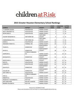 2015 Greater Houston Elementary School Rankings