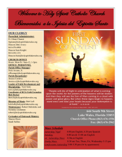 Nov 29 , 2015 bulletin - Holy Spirit Catholic Church