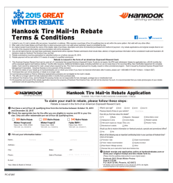 Hankook Tire Mail-In Rebate Terms & Conditions