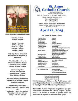 April 12, 2015 - Saint Anne Catholic Community