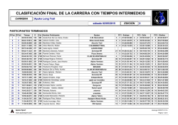 Clasificación Final de la Carrera con Intermedios [Long Trail]