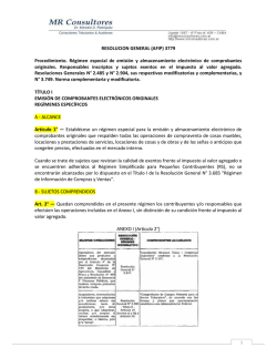 RESOLUCION GENERAL (AFIP) 3779 Procedimiento. Régimen