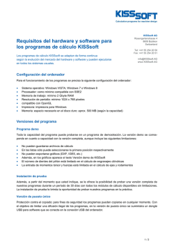 Requisitos del hardware y software para los programas de cálculo