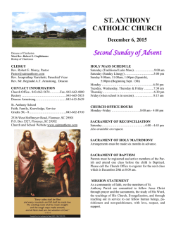 Dec 6, 2015 St Anthony Florence SC bulletin