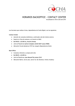 HORARIOS BACKOFFICE - CONTACT CENTER