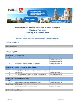 the Programme - European Society for Medical Oncology