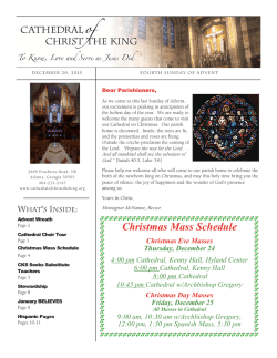 Christmas Mass Schedule - Cathedral of Christ the King
