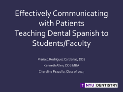 Effectively Communicating with Patients Teaching Dental Spanish to