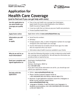 Open Enrollment information - Washington Healthplanfinder